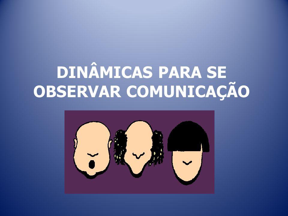 DINÂMICAS PARA SE OBSERVAR COMUNICAÇÃO