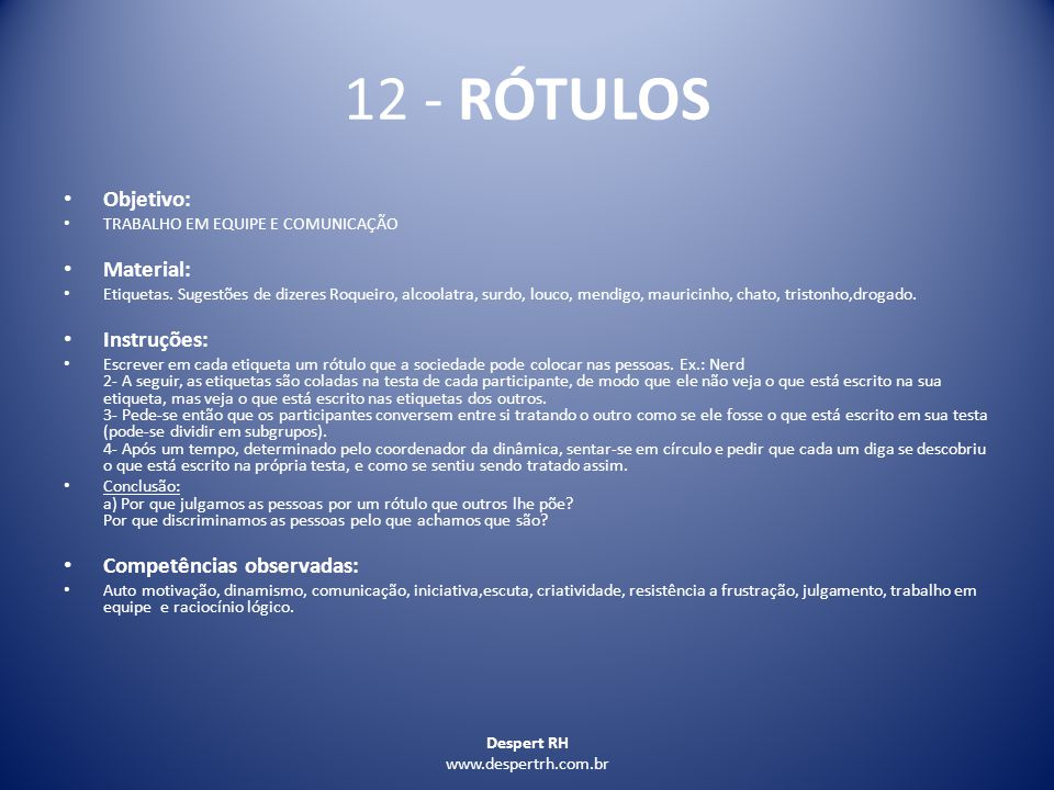 12 - RÓTULOS Objetivo: Material: Instruções: Competências observadas: