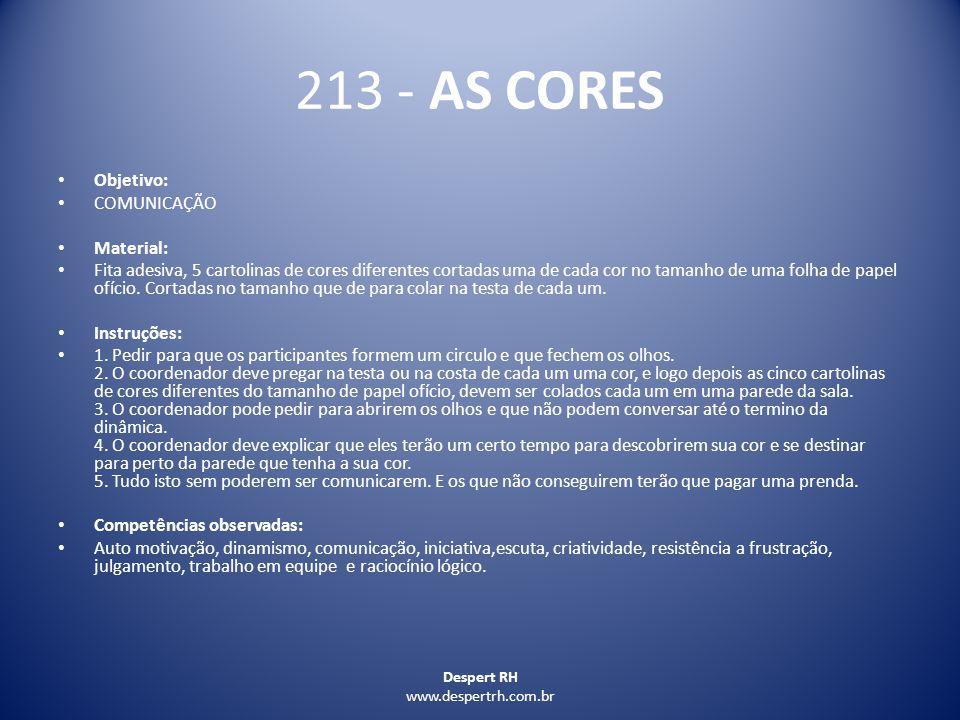 213 - AS CORES Objetivo: COMUNICAÇÃO Material: