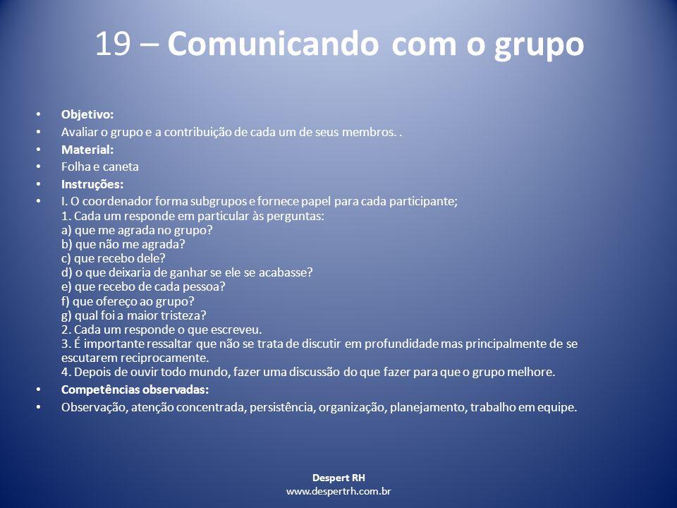 19 – Comunicando com o grupo