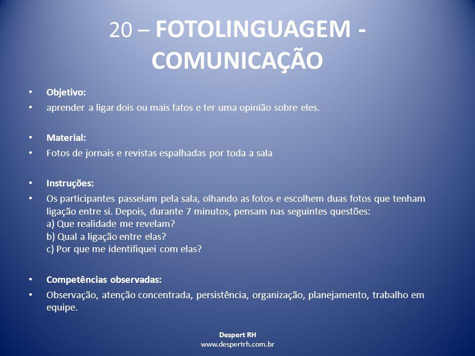 20 – FOTOLINGUAGEM - COMUNICAÇÃO