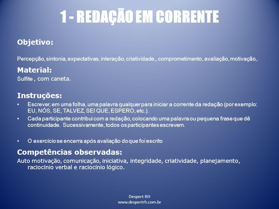 1 - REDAÇÃO EM CORRENTE Objetivo: Material: Instruções: