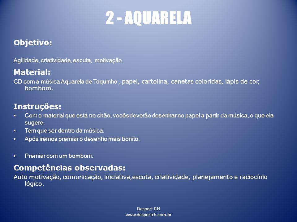 2 - AQUARELA Objetivo: Material: Instruções: Competências observadas: