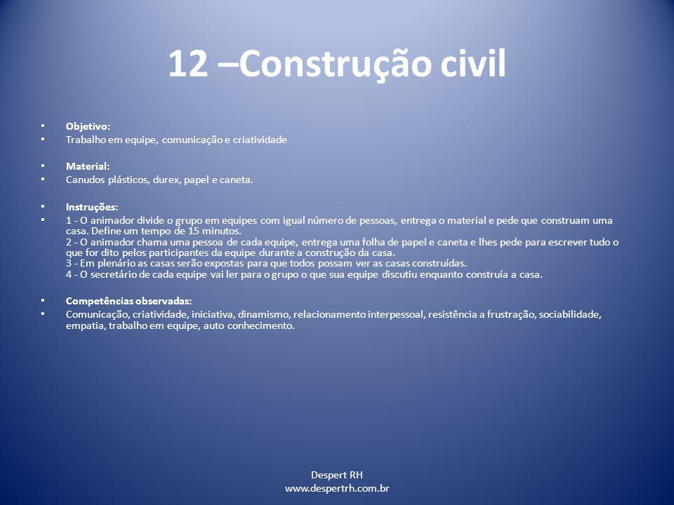 12 –Construção civil Objetivo: