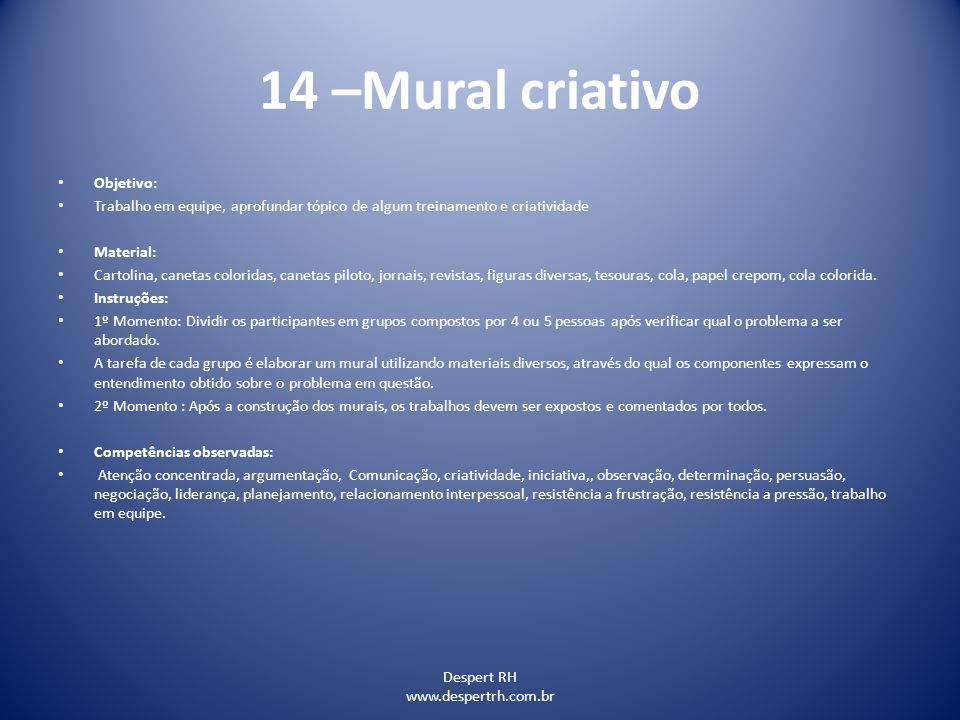 14 –Mural criativo Objetivo: