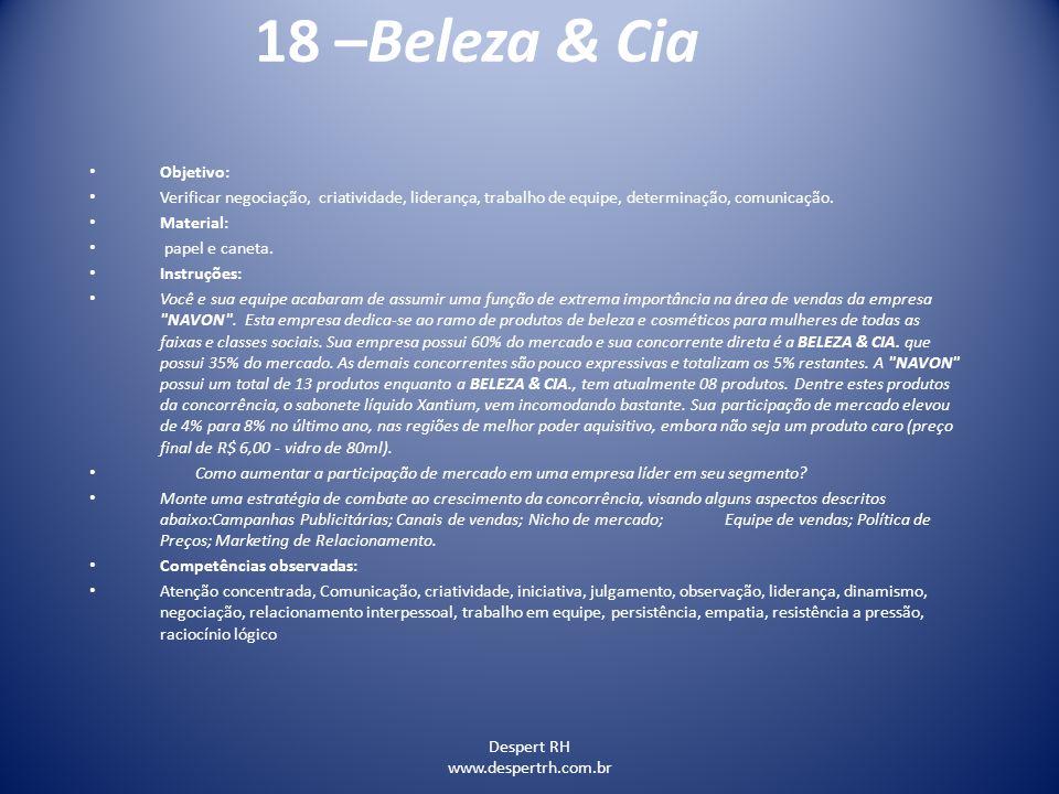 18 –Beleza & Cia Objetivo: