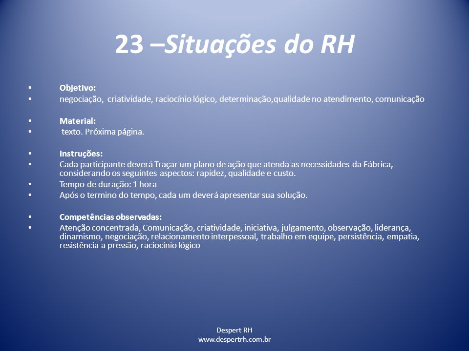 23 –Situações do RH Objetivo: