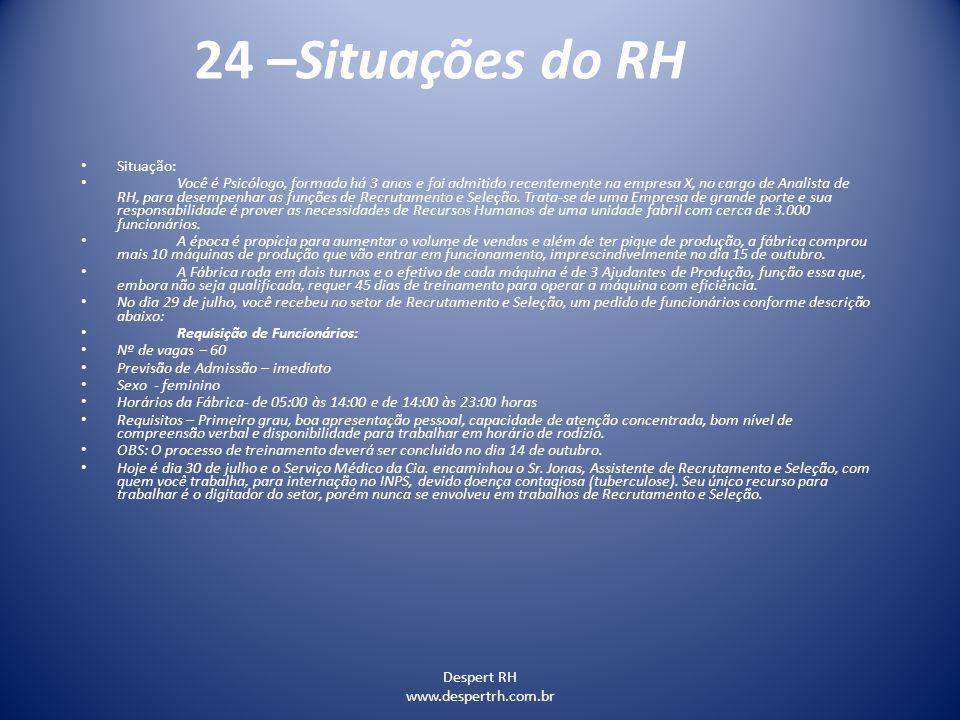 24 –Situações do RH Situação: