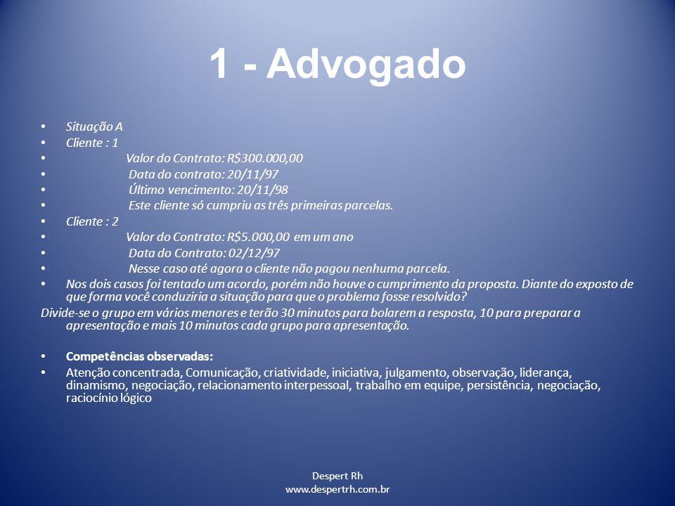 1 - Advogado Situação A Cliente : 1 Valor do Contrato: R$300.000,00