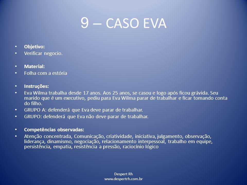 9 – CASO EVA Objetivo: Verificar negocio. Material: