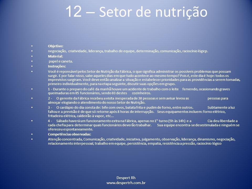 12 – Setor de nutrição Despert Rh www.despertrh.com.br Objetivo: