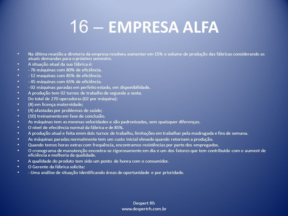 16 – EMPRESA ALFA