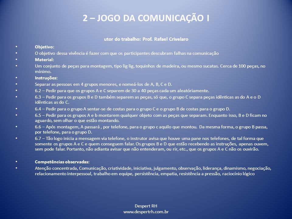 2 – JOGO DA COMUNICAÇÃO I utor do trabalho: Prof. Rafael Crivelaro
