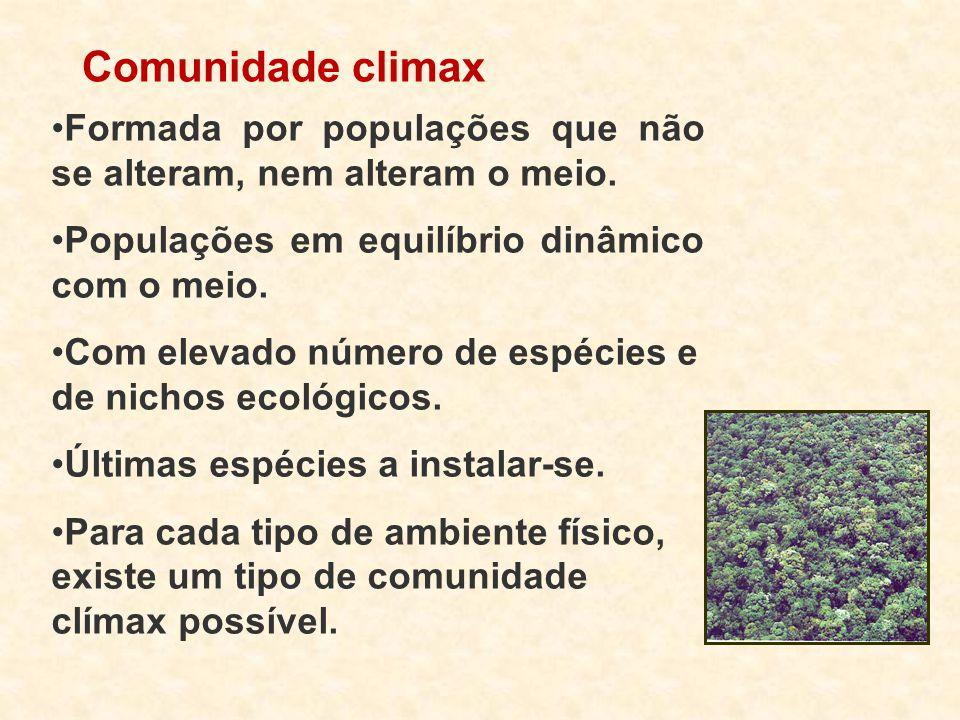 Comunidade climax Formada por populações que não se alteram, nem alteram o meio. Populações em equilíbrio dinâmico com o meio.