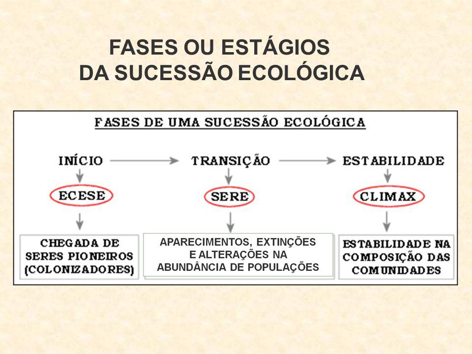 FASES OU ESTÁGIOS DA SUCESSÃO ECOLÓGICA