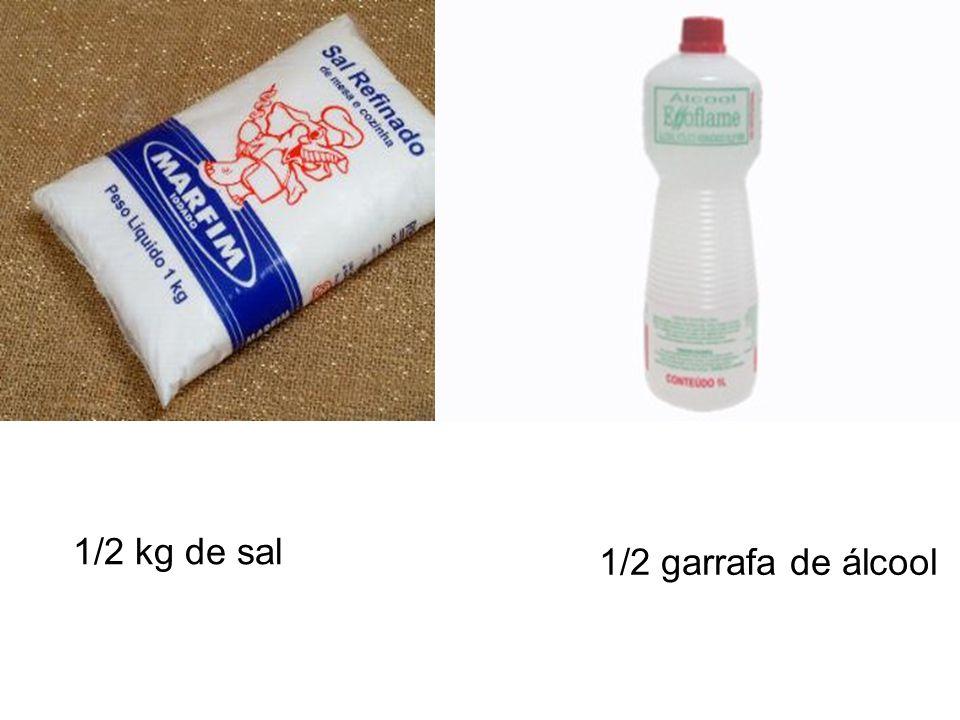 1/2 kg de sal 1/2 garrafa de álcool