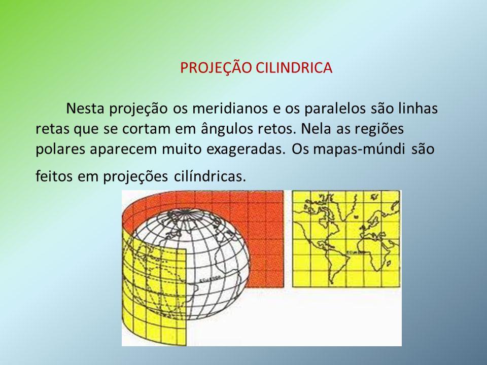 PROJEÇÃO CILINDRICA Nesta projeção os meridianos e os paralelos são linhas retas que se cortam em ângulos retos.