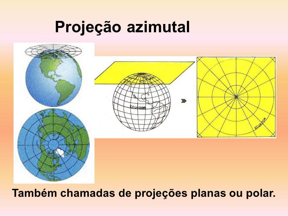 Projeção azimutal Também chamadas de projeções planas ou polar.
