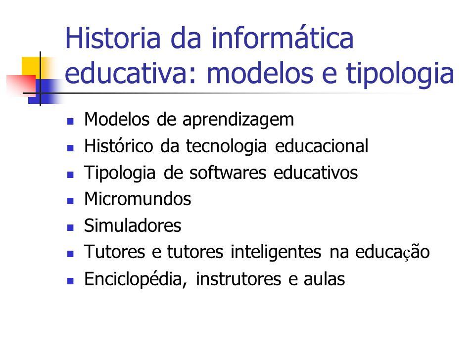Historia da informática educativa: modelos e tipologia