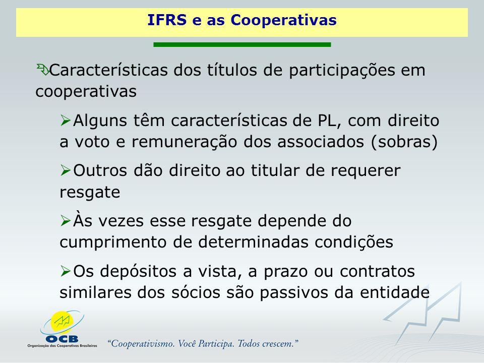 Características dos títulos de participações em cooperativas