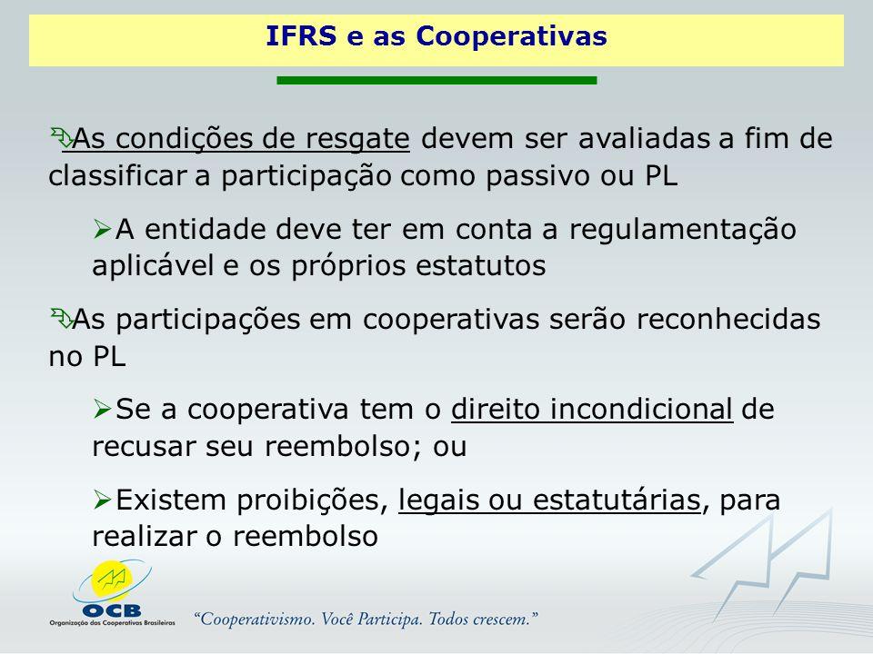 As participações em cooperativas serão reconhecidas no PL