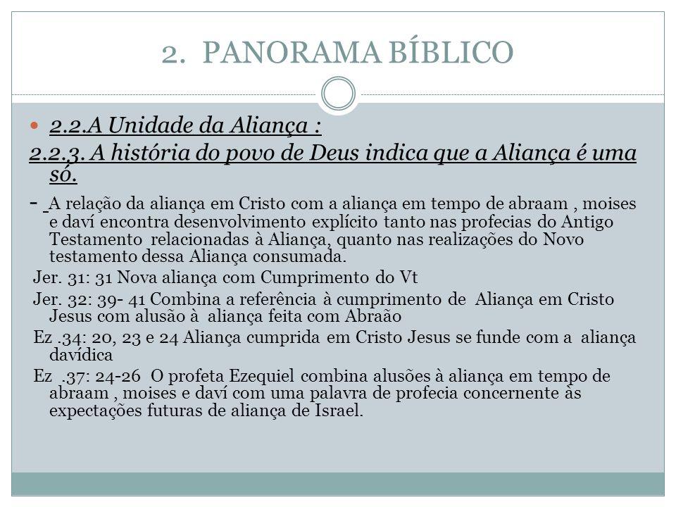 2. PANORAMA BÍBLICO 2.2.A Unidade da Aliança : 2.2.3. A história do povo de Deus indica que a Aliança é uma só.