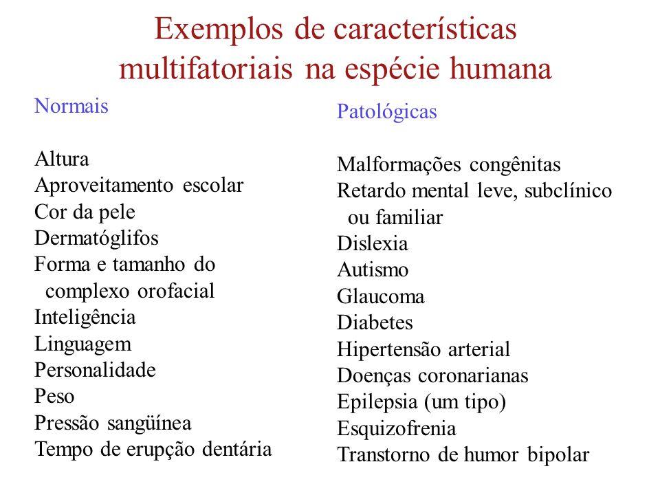 Exemplos de características multifatoriais na espécie humana