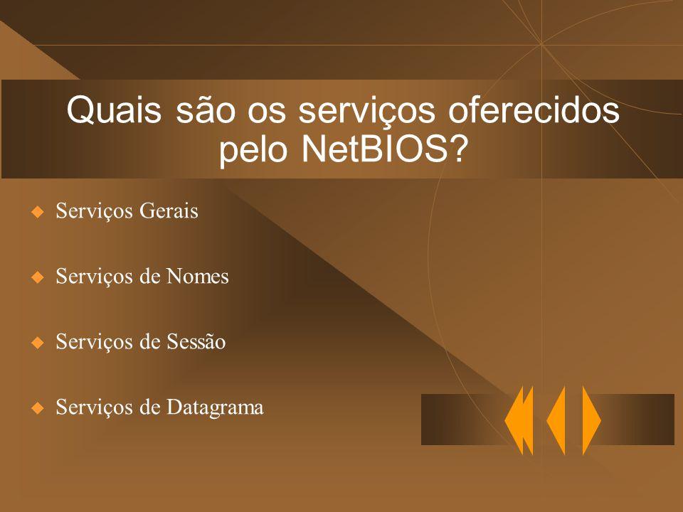 Quais são os serviços oferecidos pelo NetBIOS