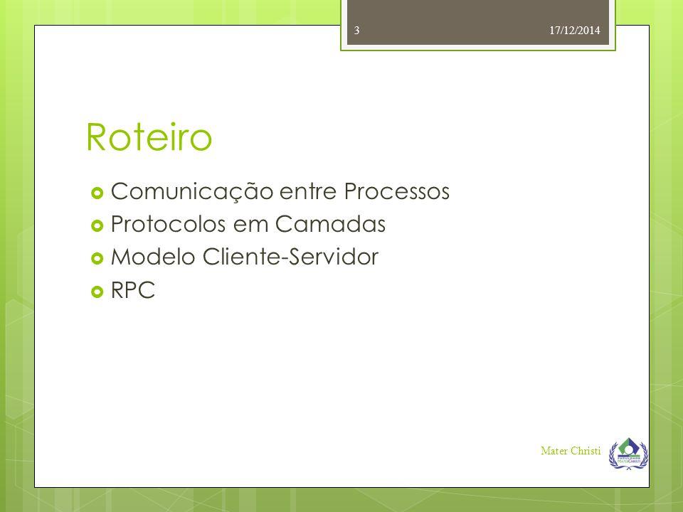 Roteiro Comunicação entre Processos Protocolos em Camadas