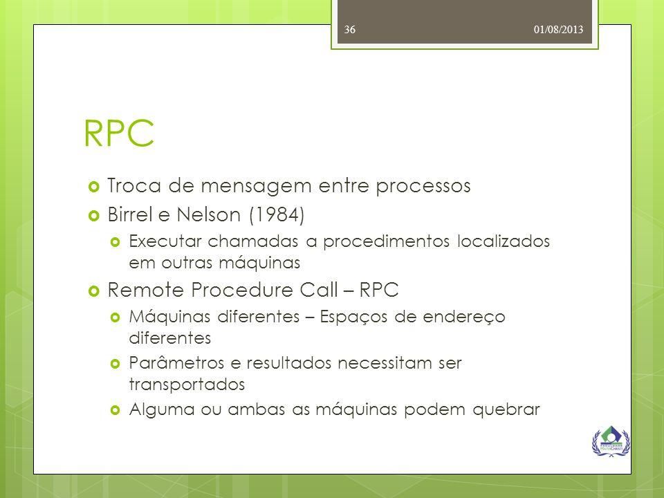 RPC Troca de mensagem entre processos Birrel e Nelson (1984)