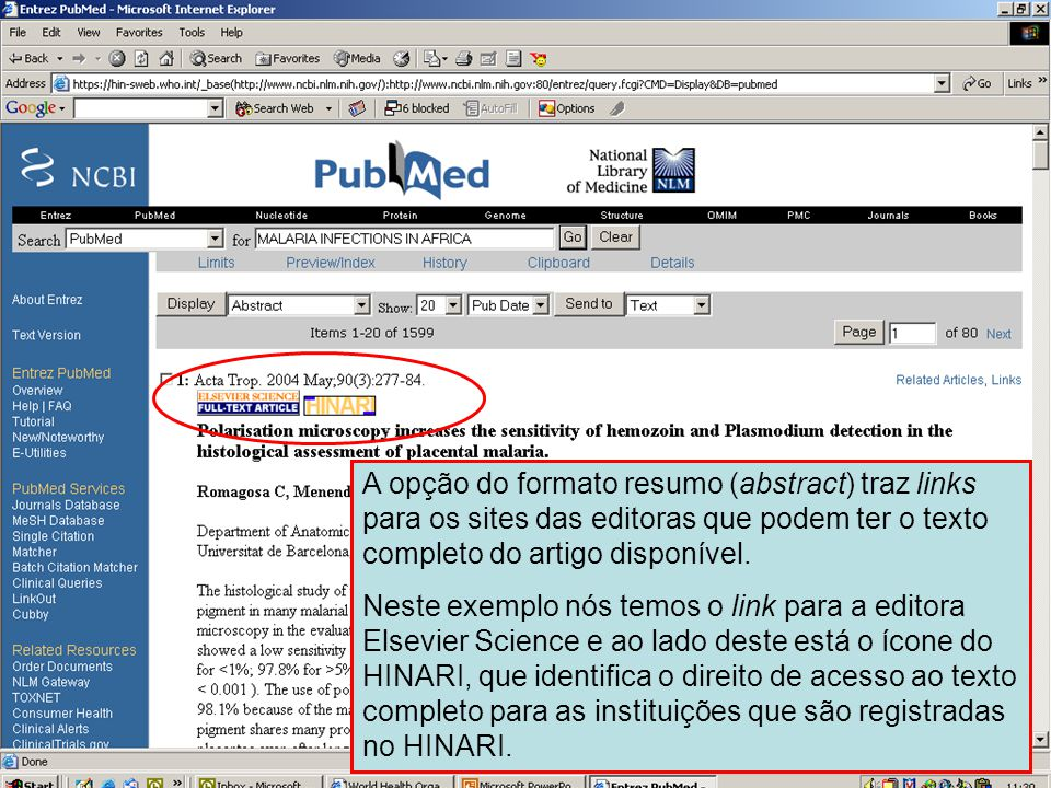 Formato resumo (Abstract) – links para o texto completo