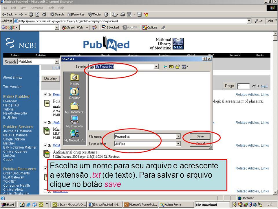 Envio para um arquivo 3 Escolha um nome para seu arquivo e acrescente a extensão .txt (de texto). Para salvar o arquivo clique no botão Save.