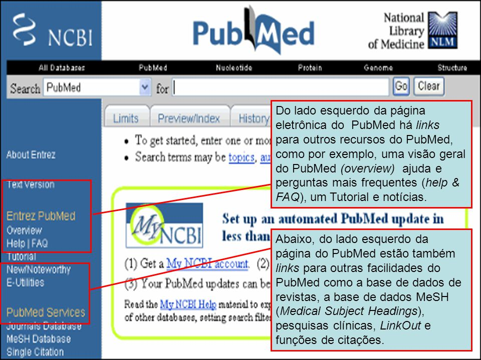 Menu do lado esquerdo do PubMed