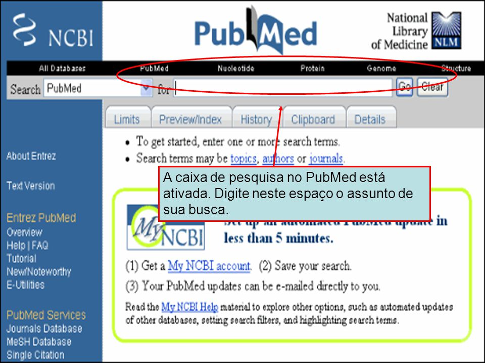 Caixa de pesquisa do PubMed