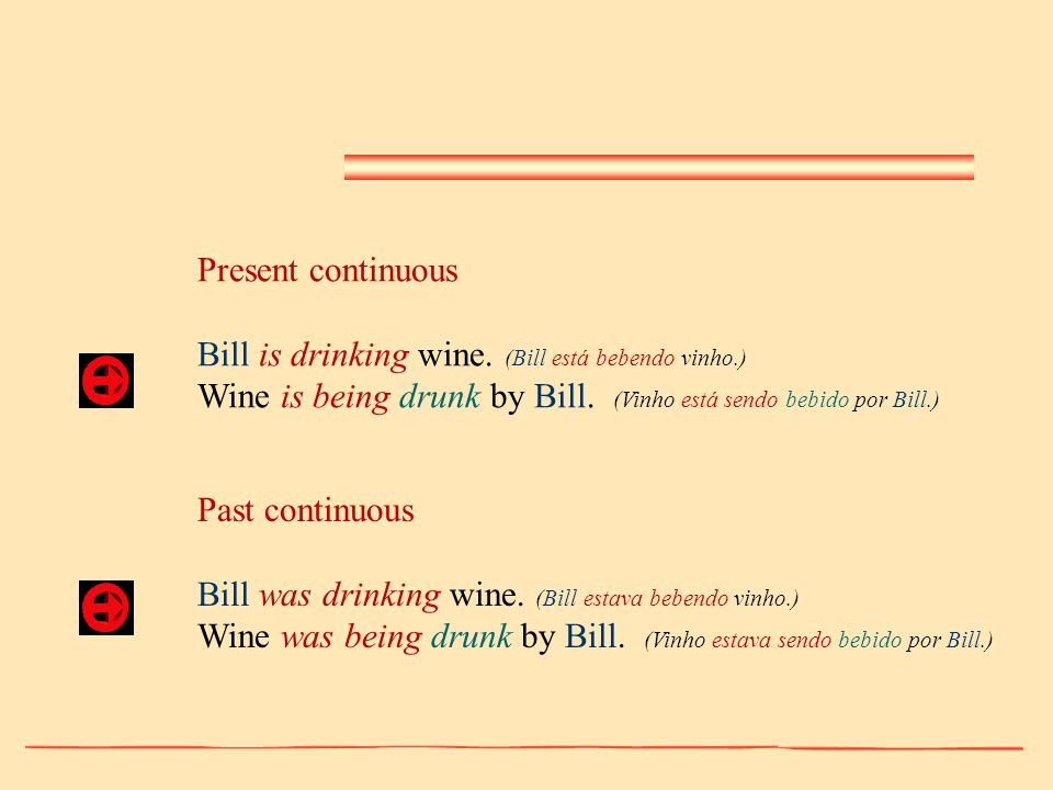 Present continuous Bill is drinking wine. (Bill está bebendo vinho.) Wine is being drunk by Bill. (Vinho está sendo bebido por Bill.)