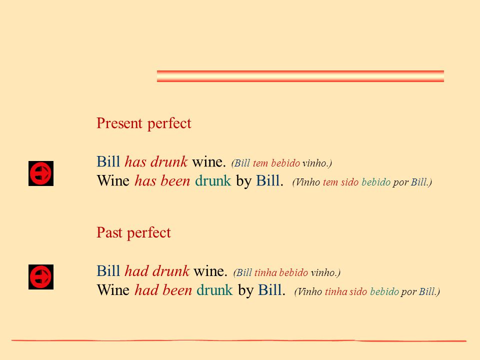 Present perfect Bill has drunk wine. (Bill tem bebido vinho.) Wine has been drunk by Bill. (Vinho tem sido bebido por Bill.)