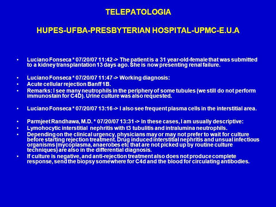 TELEPATOLOGIA HUPES-UFBA-PRESBYTERIAN HOSPITAL-UPMC-E.U.A