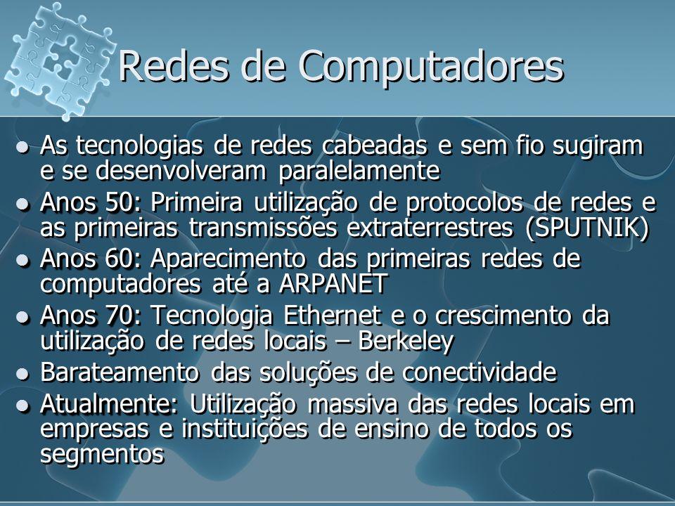Redes de Computadores As tecnologias de redes cabeadas e sem fio sugiram e se desenvolveram paralelamente.