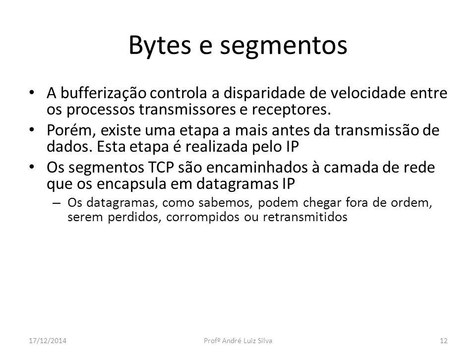 Bytes e segmentos A bufferização controla a disparidade de velocidade entre os processos transmissores e receptores.