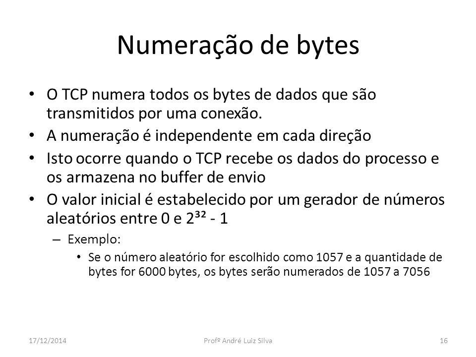 Numeração de bytes O TCP numera todos os bytes de dados que são transmitidos por uma conexão. A numeração é independente em cada direção.