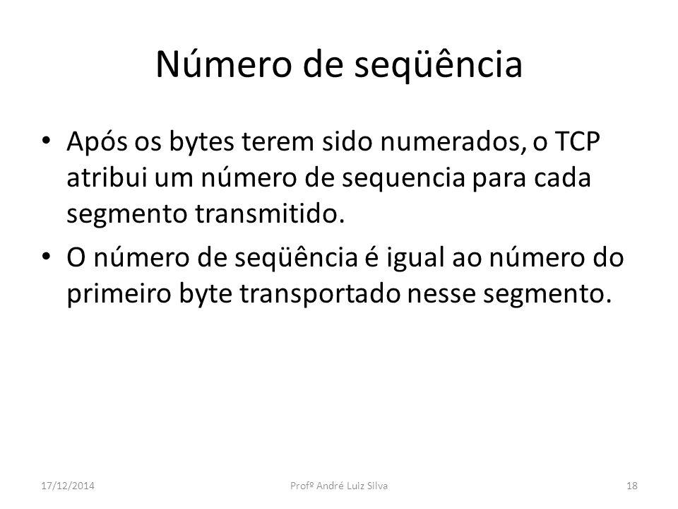Número de seqüência Após os bytes terem sido numerados, o TCP atribui um número de sequencia para cada segmento transmitido.