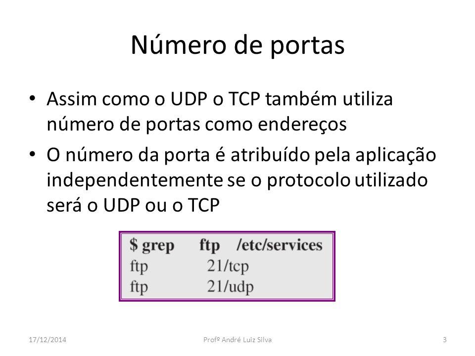 Número de portas Assim como o UDP o TCP também utiliza número de portas como endereços.