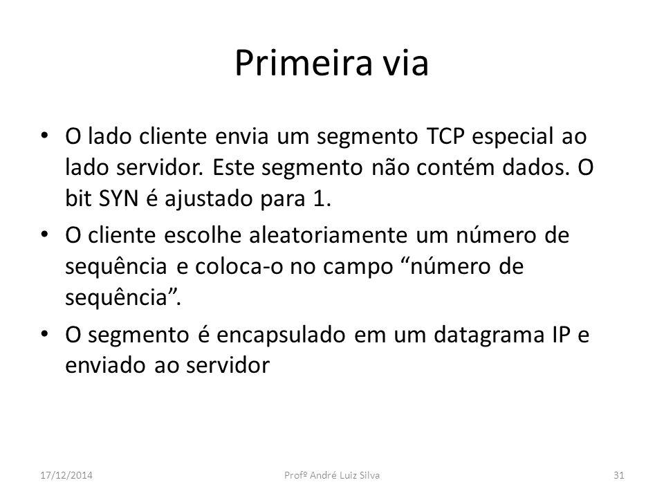 Primeira via O lado cliente envia um segmento TCP especial ao lado servidor. Este segmento não contém dados. O bit SYN é ajustado para 1.