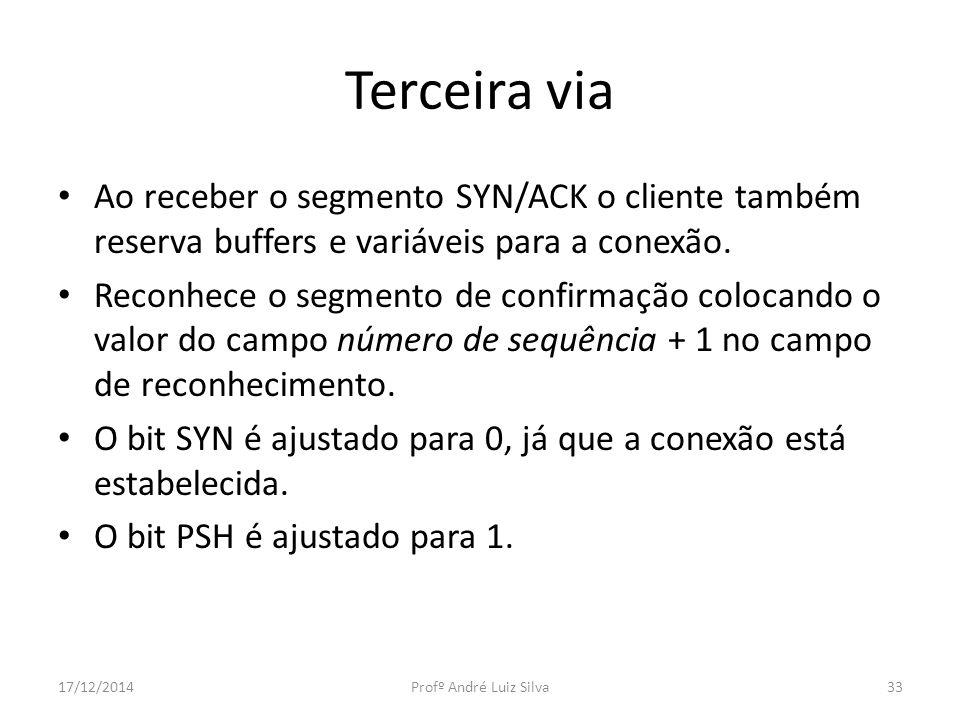 Terceira via Ao receber o segmento SYN/ACK o cliente também reserva buffers e variáveis para a conexão.