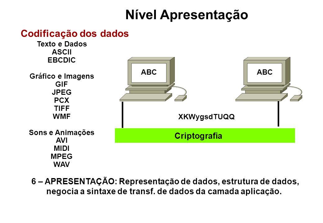 Nível Apresentação Codificação dos dados Criptografia