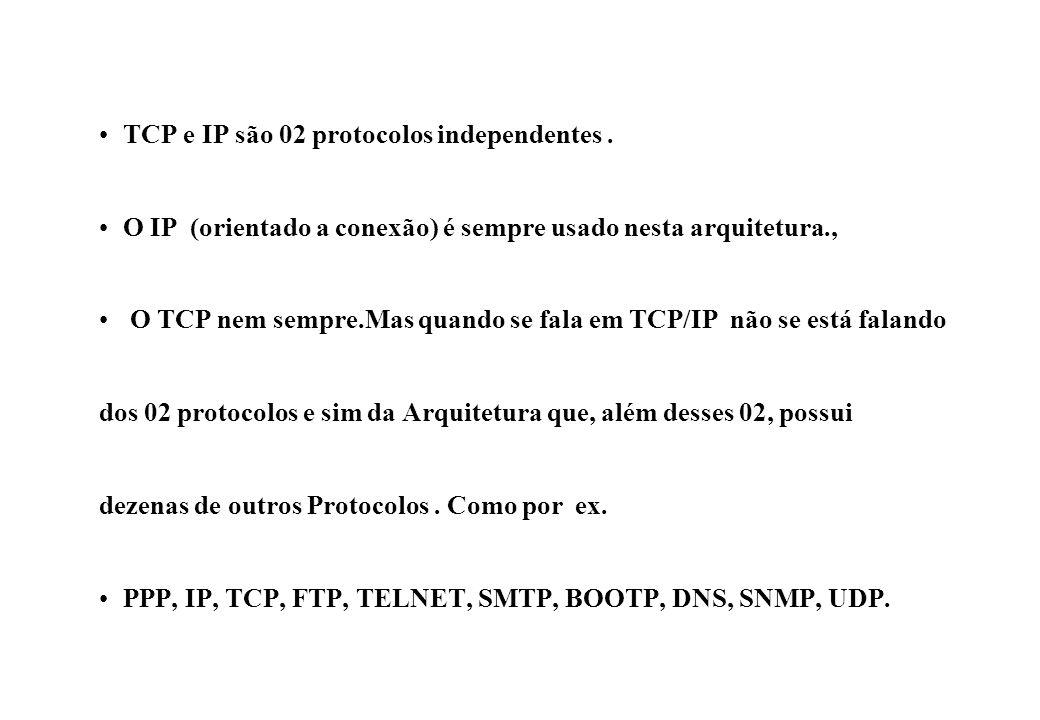 TCP e IP são 02 protocolos independentes .
