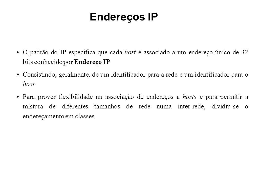 Endereços IP O padrão do IP especifica que cada host é associado a um endereço único de 32 bits conhecido por Endereço IP.