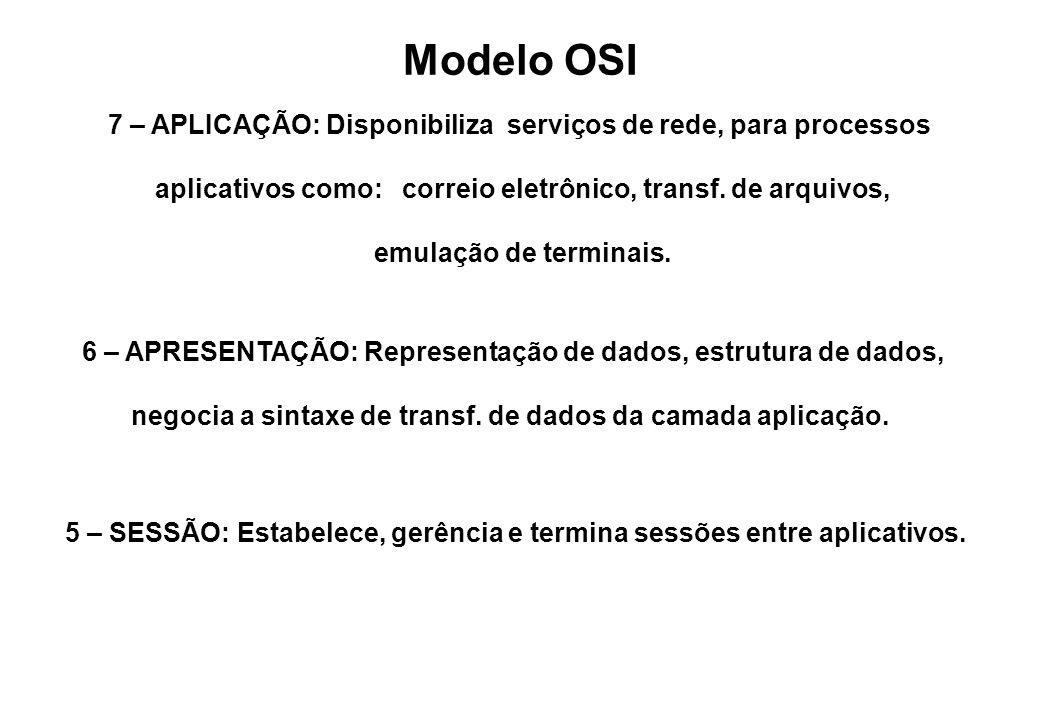 Modelo OSI 7 – APLICAÇÃO: Disponibiliza serviços de rede, para processos. aplicativos como: correio eletrônico, transf. de arquivos,