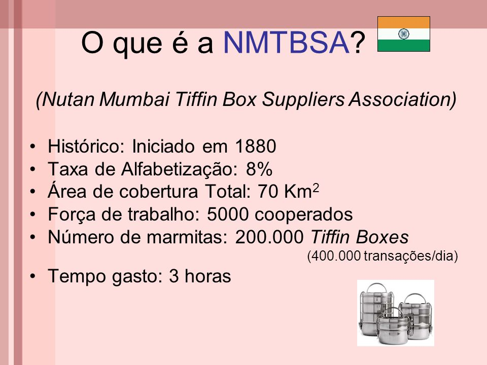 O que é a NMTBSA (Nutan Mumbai Tiffin Box Suppliers Association)