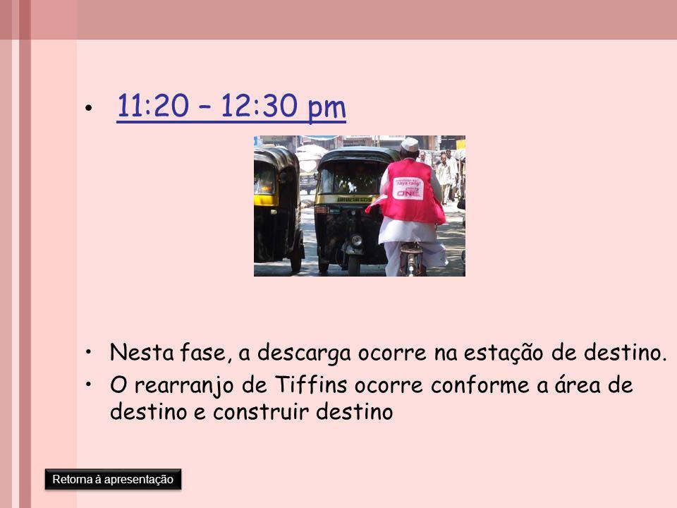 11:20 – 12:30 pm Nesta fase, a descarga ocorre na estação de destino.